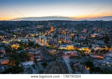 Goreme town on sunset in Cappadocia Central AnatoliaTurkey