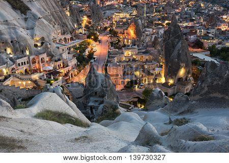 Goreme town on sunset in Cappadocia Central Anatolia Turkey