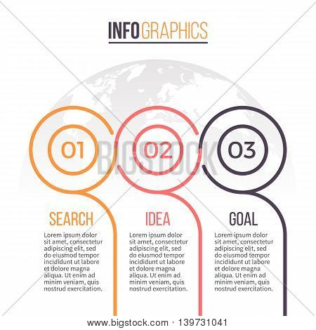 Business infographics. Timeline with 3 steps. Vector design template.