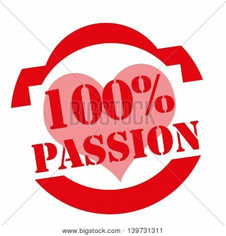 Red stamp with text 100% Passion,vector illustration