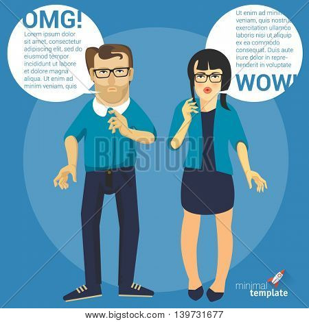 Men and women flat design characters with speech bubbles.