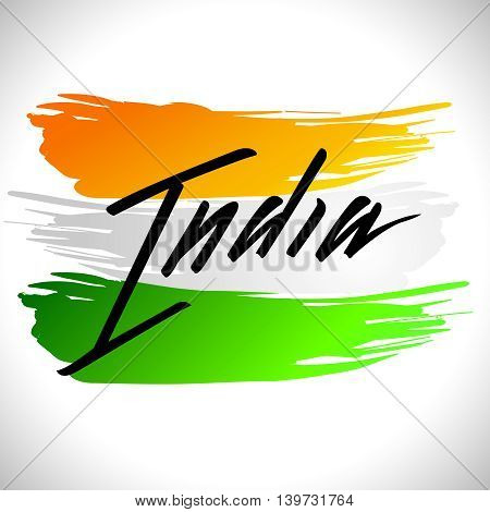 Vector illustration for the India Independence Day. Greeting card for celebration of India Independence Day with yellow green white National Indian Flag on a background with lettering India in black