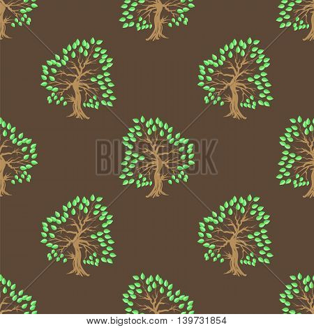 Green Tree Seamless Pattern. Summer Leaves Background