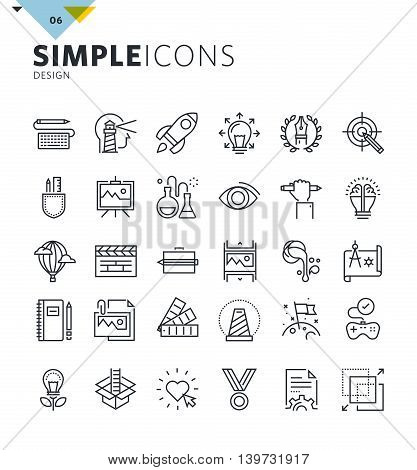 Modern thin line icons of design and art. Premium quality outline symbol collection for web and graphic design, mobile app. Mono linear pictograms, infographics and web elements pack.
