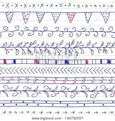 Seamless background with borders in doodle style (included flowers, ivy, flags and geometric elements). Can be used for doodle or hand drawn design