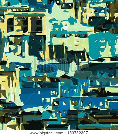 blue yellow green and dark blue painting abstract background