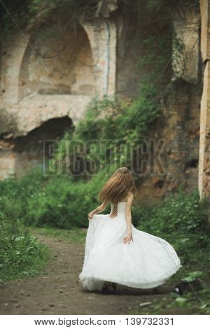 Gorgeous romantic gentle stylish beautiful caucasian bride on the background ancient baroque castle.
