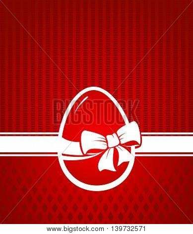 Easter card. Easter egg tied with a ribbon on a red background