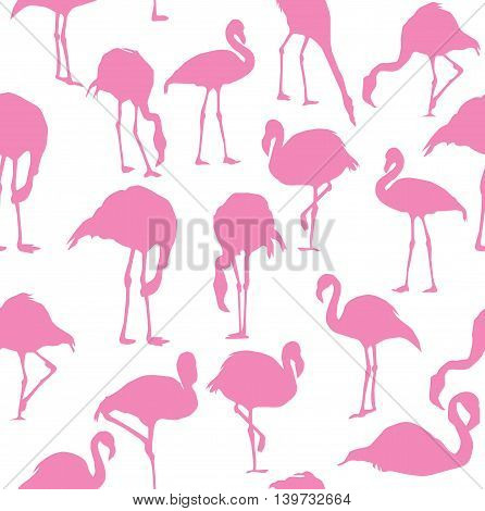 vector illustration of pink flamingo seamless background