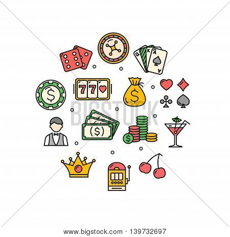 Casino Round Design Template Thin Line Icon Set Isolated on White Background. Vector illustration