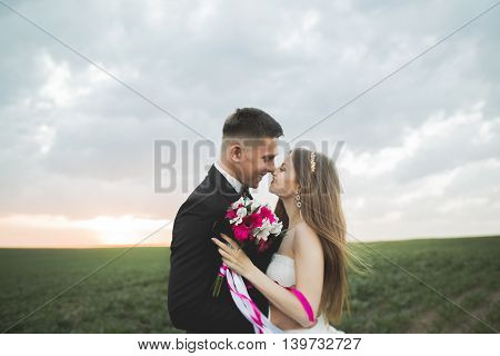 Lovely wedding couple, bride and groom posing in field during sunset.