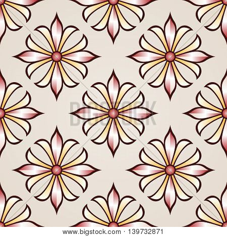 Seamless floral pattern with rose pink and light brown flowers