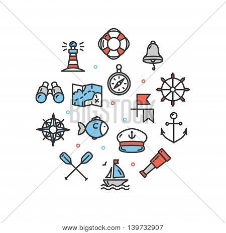 Nautical Sea Round Design Template Thin Line Icon Set Isolated on White Background. Vector illustration