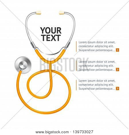 Orange Stethoscope with Place for Your Text. Vector illustration