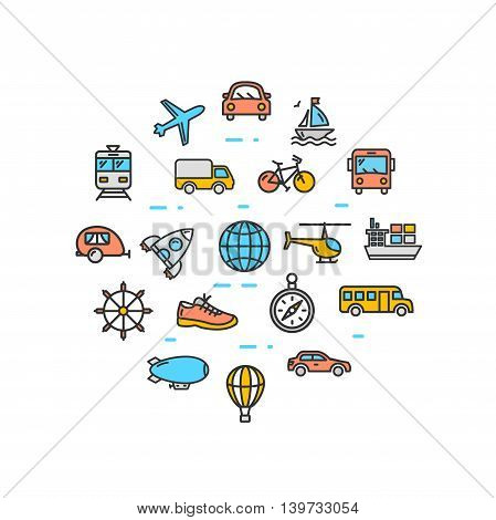 Transportation Round Design Template Thin Line Icon Set Isolated on White Background. Vector illustration