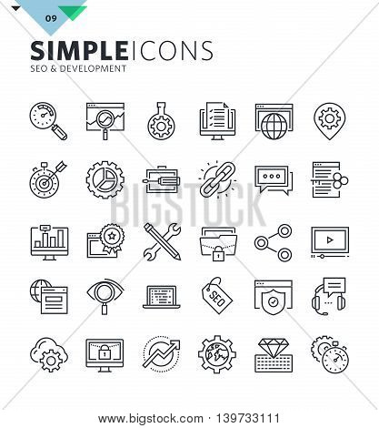 Modern thin line icons of SEO and web development. Premium quality outline symbol collection for web and graphic design, mobile app. Mono linear pictograms, infographics and web elements pack.
