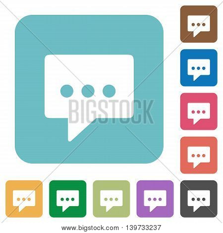 Flat working chat icons on rounded square color backgrounds.