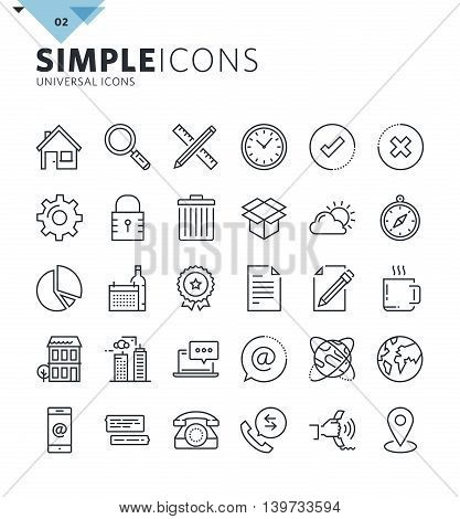 Modern thin line universal web icons. Premium quality outline symbol collection for web and graphic design, mobile app. Mono linear pictograms, infographics and web elements pack.