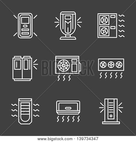 Air temperature regulation equipment. Air conditioning appliances different types for office, home, store and industrial. Set of simple white line style vector icons on black background.