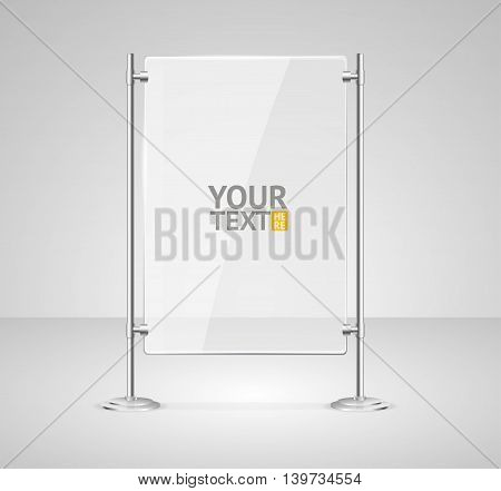 Glass Screen Banner with Place For Your Text. Vector illustration