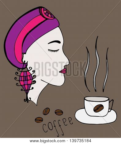 Girl which smells the aroma of coffee on the brown background