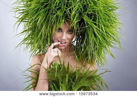 Concepto de mujer, verde ecología