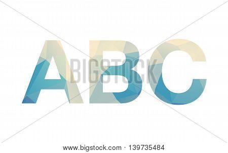 Modern bold font letters siluhette with poligonal background on white