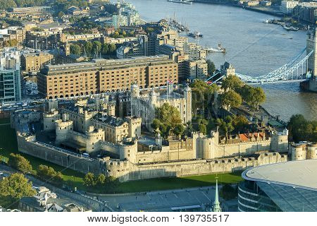 Aerial shot of The Tower Of London