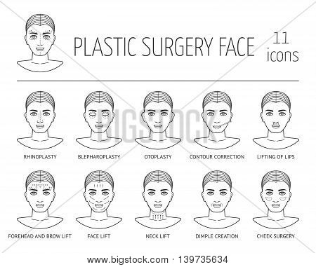 Set of isolated line plastic surgery face icons. Flat design. Vector illustration