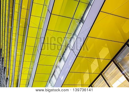 Abstract shot of layers of Yellow Glass