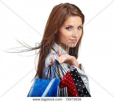 beautiful einkaufen Frau in einem Draw-Einkaufszentrum