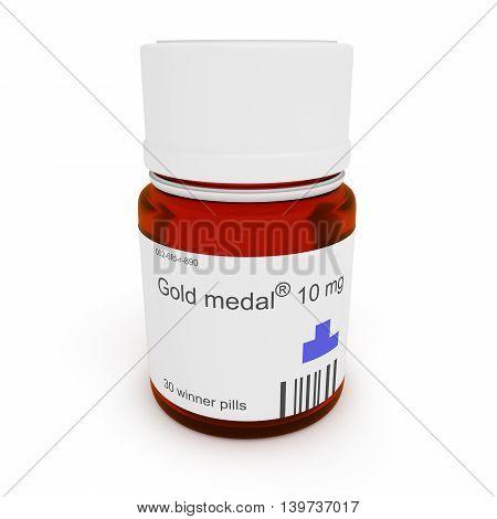 Doping: Pill bottle Gold medal 10 mg 3d illustration