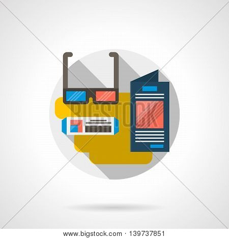 Accessories for watching of three-dimensional movie. 3D glasses, ticket and cinema program. Modern entertainment technology. Round detailed flat color style vector icon.