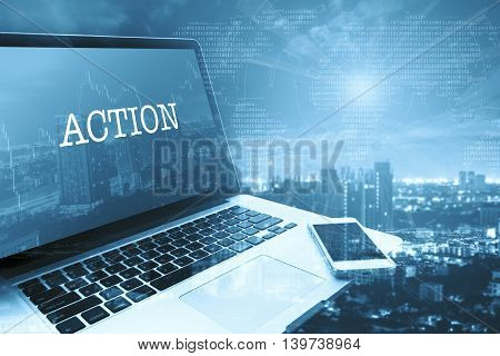 ACTION : Grey computer monitor screen. Digital Business and Technology Concept.