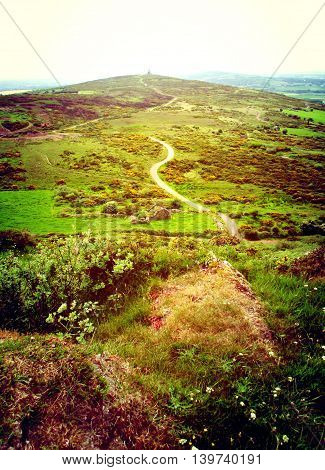 A winding pathway through a remote Irish countryside