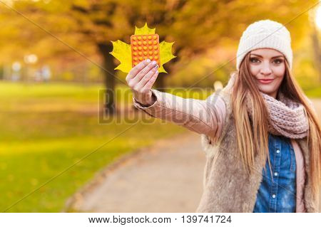 Woman With Pills Outdoor