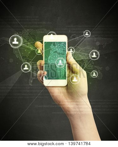 Caucasian hand in business suit holding a smartphone, social network concept