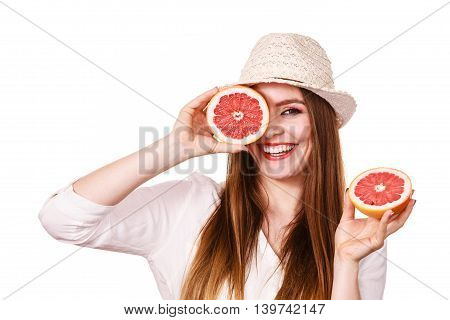Girl Covering Eyes With Two Halfs Of Grapefruit Citrus Fruit