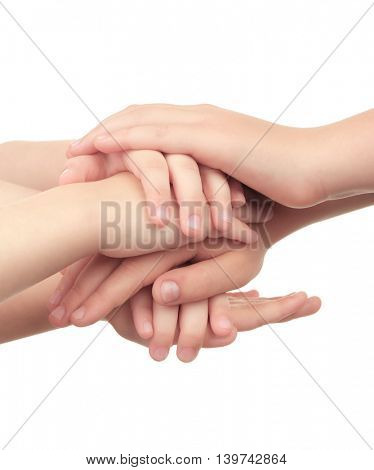 Kids hands isolated on white