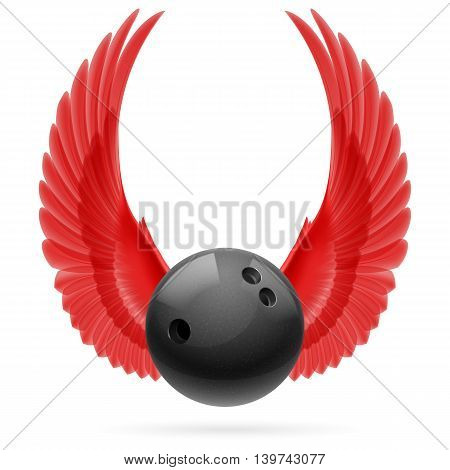 Black bowling ball with red raised up wings