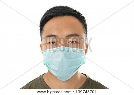 Portrait of ill man in mask isolated on white