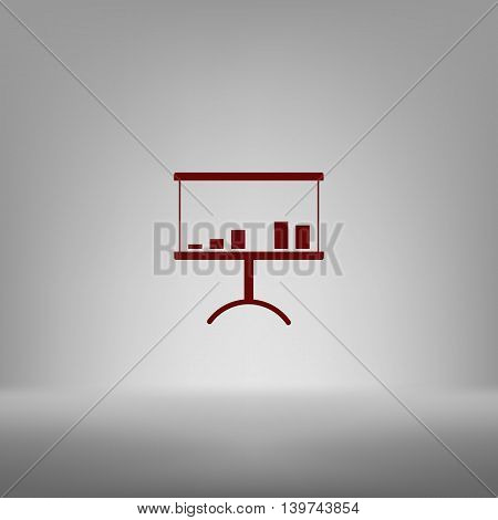 Flat Paper Cut Style Icon Of A Presentation Stand