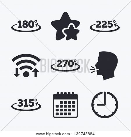 Angle 180-315 degrees icons. Geometry math signs symbols. Full complete rotation arrow. Wifi internet, favorite stars, calendar and clock. Talking head. Vector