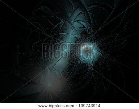 Abstract blue fractal flower on black background