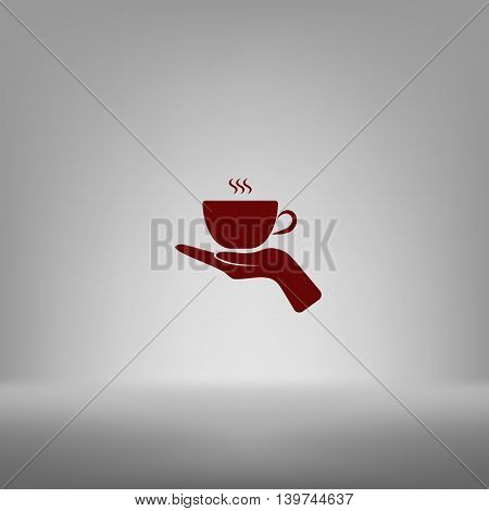 Hand With Coffee Cup Sign Icon, Vector Illustration