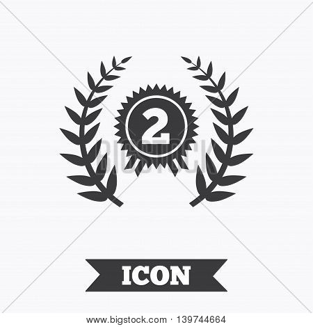 Second place award sign icon. Prize for winner symbol. Laurel Wreath. Graphic design element. Flat award symbol on white background. Vector