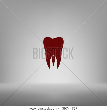 Flat Paper Cut Style Icon Of Tooth. Dentistry Symbol