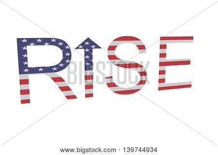 Stars and stripes: Word rise with arrow 3d illustration
