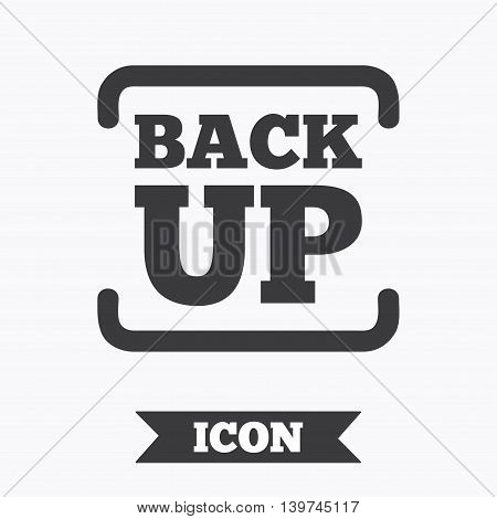 Backup date sign icon. Storage symbol with arrow. Graphic design element. Flat backup symbol on white background. Vector