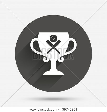 Baseball bats and ball sign icon. Sport hit equipment symbol. Winner award cup. Circle flat button with shadow. Vector